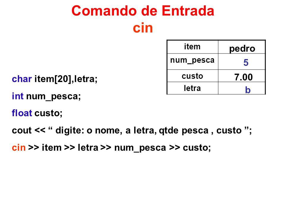 Comando de Entrada cin pedro 5 7.00 char item[20],letra;